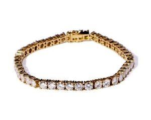 8.50ct Round Cut Forever DEF Moissanite Tennis Bracelet 10K Yellow Gold Bracelet