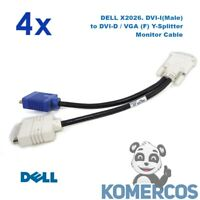 Lot of 4 - DELL X2026. DVI-I(Male) to DVI-D / VGA (F) Y-Splitter Monitor Cable