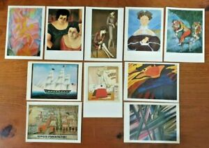 Set of 10 Different Art Postcards NEW Old Vintage Stock, great for postcrossing