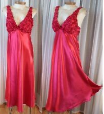 NEW Long Red Gown Nightgown Medium Satin Lady Woman Flora M Glamorous Rosettes