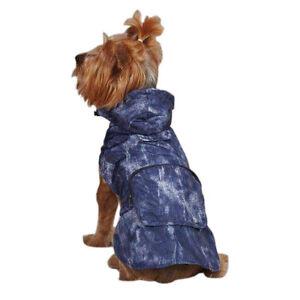Casual Canine Rain Coat Hooded Raincoat Dog Jacket Compact Zip Pouch BLUE XS