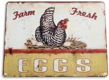 """TIN SIGN """"Eggs Farm Fresh"""" Metal Decor Wall Art Store Kitchen Bar A104"""