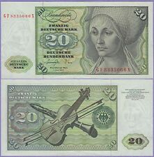 Germany Federal Republic 20 Deutsche Mark Banknote About Uncirculated 1977 #20-A