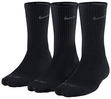New Nike Mens 3 Pair Dri-Fit Cushion Crew Socks Large 8-12 SX4827 Tennis Running
