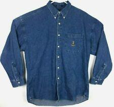 Chaps Ralph Lauren Mens Denim Shirt Crest Logo Long Sleeve Button Size Large