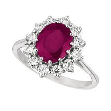 3.50 Carat Natural Oval Ruby & Diamond Ring 14K White Gold