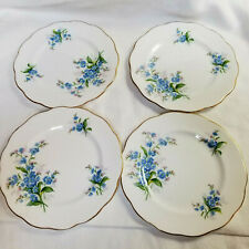 4 Royal Albert Bone China Bread & Butter Plates Forget Me Not Gold Trim England