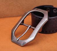 Heavy Solid Silver Men Leather Huge Center Bar Jeans Belt Buckle Fit 40mm Strap