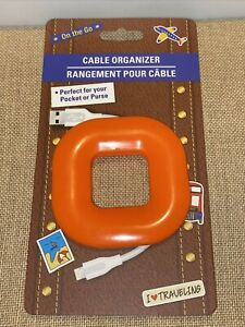 On The Go Cable Organizer Orange/Blue Great For Pocket Purse 100% Silicone NEW