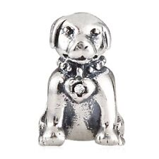 Dog Charm Bead 925 Sterling Silver