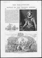 1888  Antique Print - NAVAL Spanish Armada Laird Clowes Walter Raleigh   (224)