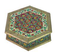 Vintage Indian Traditional Wooden Velvet Meenakari Work Jewelry Box i71-529