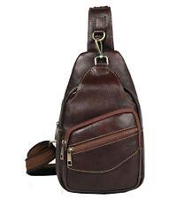 Men's Genuine Leather Vintage Travel Messenger Shoulder Sling Pack Chest Bag