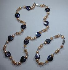 Peacock Blue & Peach real Pearl Necklace & Bracelet Set, Solid Sterling Silver.