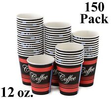150 Pack 12 Oz. Eco Friendly Disposable Poly Paper Hot Tea Coffee Cups No Lids