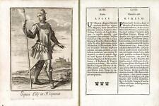 Incisione antica originale Cavaliere del Giglio in Hispania 1711