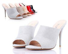Silver Sexy Womens Peep Toe Mules High Heels Dress Shoes Sandals Shoes Size 5.5