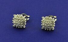 14k Solid White Gold Natural Cluster Diamond Stud Earring Rosita 0.80ct baguette