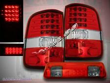 04 05 06 07 08 FORD F-150 RED+CLEAR TAIL LIGHTS LED / RED SMOKE 3RD BRAKE LIGHT
