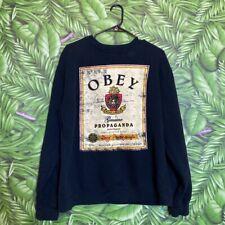 Obey Propaganda Crewneck Sweatshirt Mens L Black Obey Print Long Sleeve