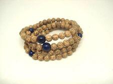 "Seigetsu Linden Bodhi Seed 108 Juzu Bracelet ""Lapis Lazuli"" Mala,Yoga"