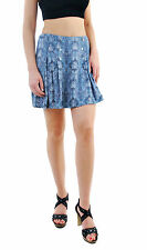 Free People Women's Lovers Lane Mini Printed Skirt Blue RRP £64 BCF69