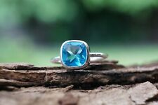 Sterling Silver Ring Swiss Blue Topaz Cushion Gemstone 925 Fine Handmade Ring