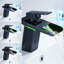 Bathroom Waterfall LED Faucet Brass Basin Bathroom Mixer Tap Sink Single Handle