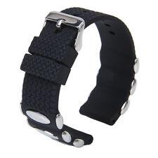 Waterproof Sport Silicone Rubber Watch Wristwatch Strap Band w Metal Buckle 24mm
