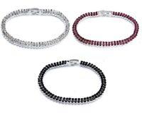 Damen Tennis Armband Zirkon Silber 2-reihig Kristall Ketten Armreif Statement