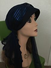 Lailly hijab hats black w/blue and rhinestones very pretty and fashionable
