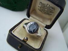 SUPERBA Vintage Solid Sterling Silver Ematite intaglio Signet Anello dimensione Z 12 1/2