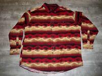 Vintage Woolrich Mens Indian Blanket Striped Wool Work Southwestern Shirt XLarge
