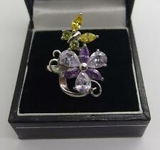 Handcrafted 925 Sterling Silver ring Amethyst Flower Ring Size M 6.5 US #6