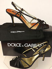 NIB DOLCE GABBANA BLACK GLITTER CAGED SLINGBACK SANDALS PUMPS 40