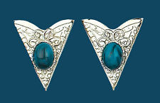 Western Collar Tips - Silver with Blue Stones