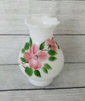 """Vintage Hurricane Lamp Shade Glass Fitter pink Floral Design Hand Painted 7"""""""