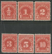 U.S. Postage Due stamps scott j79 - j84 issues of 1931 - mnh - set #9