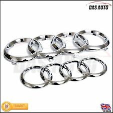 CHROME GRILL & REAR BADGE RINGS AUDI a1 a3 a4 a5 a6 s3 s4 rs3 quattro sline sgs