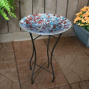 """Sunnydaze Bird Bath Bowl and Stand with Multi-Color Glass Tile - 14"""" Diameter"""