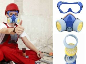 2pc Respirator & Goggles Set Chemical Respiratory Face Gas Paint Spray Sand Mask