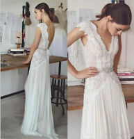 Boho Lace Chiffon Beach Wedding Dress Backless Sexy V Neck Bohemian Bridal Gown