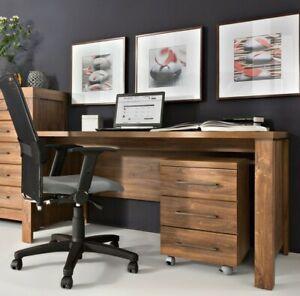 Study Home Office Set Large Desk + Mobile Pedestal Drawer Medium Oak Effect Gent
