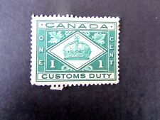 Canada Customs Duty Stamp, 1930's era, Used/Poor, Crease only on back