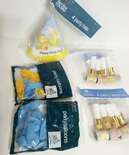 Vtg Care Bear Cousins Party Supplies Sealed 1985 Balloons Hats Blow Outs