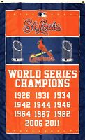 St. Louis Cardinals World Series Championship Flag 3x5 ft MLB Banner Man-Cave