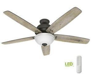 """NEW Hunter Reveille 60"""" LED Indoor Noble Bronze Ceiling Fan with Light & Remote"""