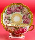 Antique Limoges Coronet tea Cup Saucer Cabbage Pink ROSES Hand ENAMEL Gold GILT