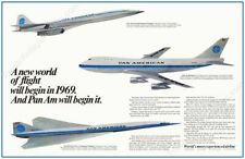 1960s Pan Am airlines SST Concorde 747 3 future plane ad art new poster 16x24