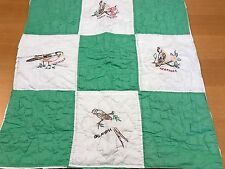 VINTAGE GREEN EMBROIDERY & PAINTED STATE NAMES & BIRDS CUTTER QUILT PIECE